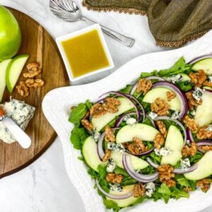 Healthy Apple Walnut Salad with White Balsamic Vinaigrette